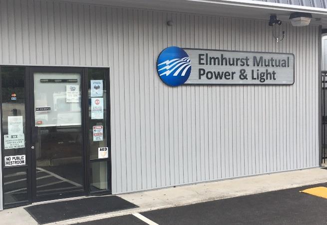 New Elmhurst Mutual Power & Light sign on building
